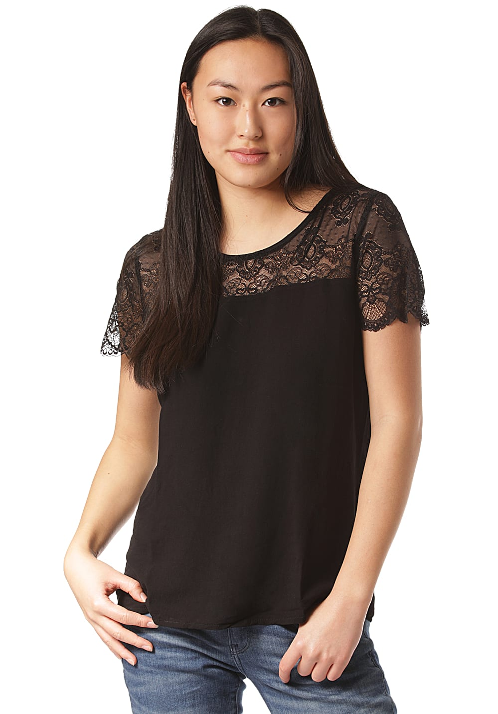 Vila Vimero Lace Top Bluse für Damen Schwarz Planet Sports