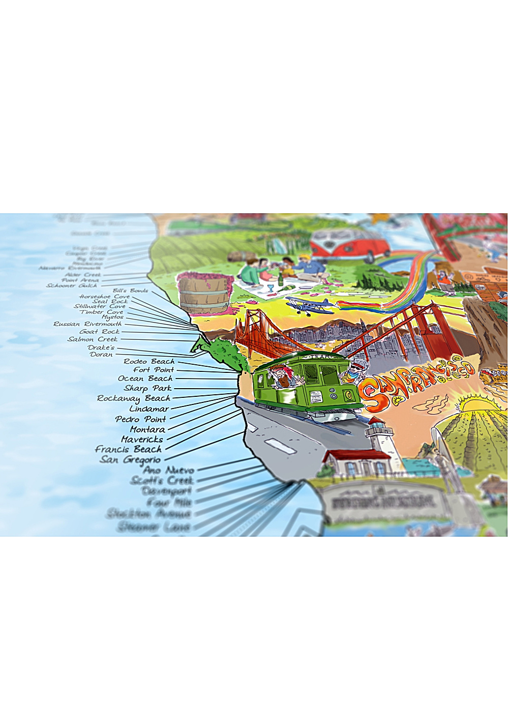 AWESOME MAPS West Coast & Hawaii Surf Map - Map of the motherland of surf -  Accessory - Multicolor