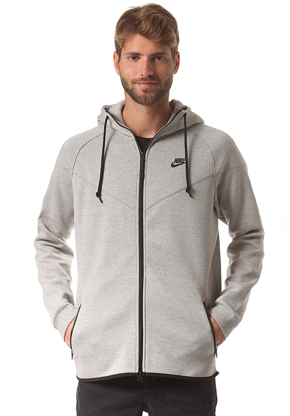 nike sportswear tech fleece veste capuche pour homme gris planet sports. Black Bedroom Furniture Sets. Home Design Ideas