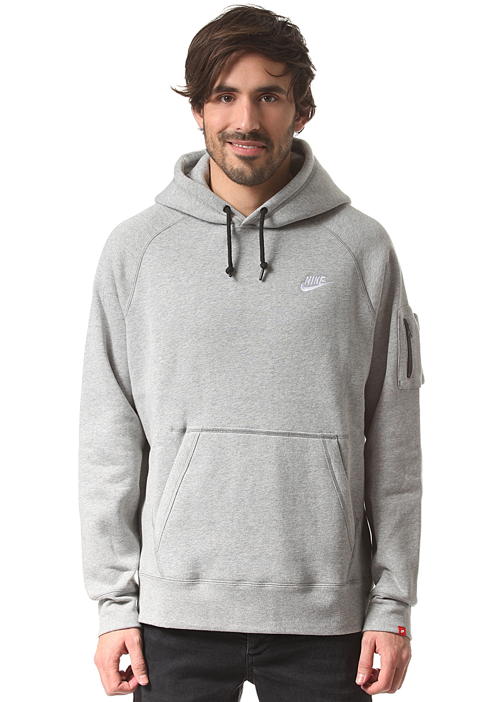 nike sportswear aw77 flc sweat capuche pour homme gris planet sports. Black Bedroom Furniture Sets. Home Design Ideas