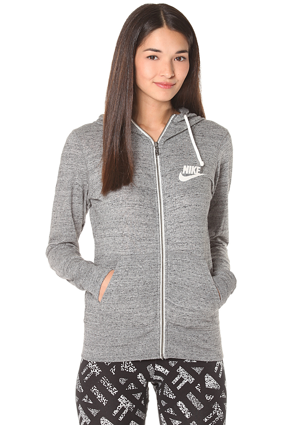 nike sportswear gym vintage veste capuche pour femme gris planet sports. Black Bedroom Furniture Sets. Home Design Ideas