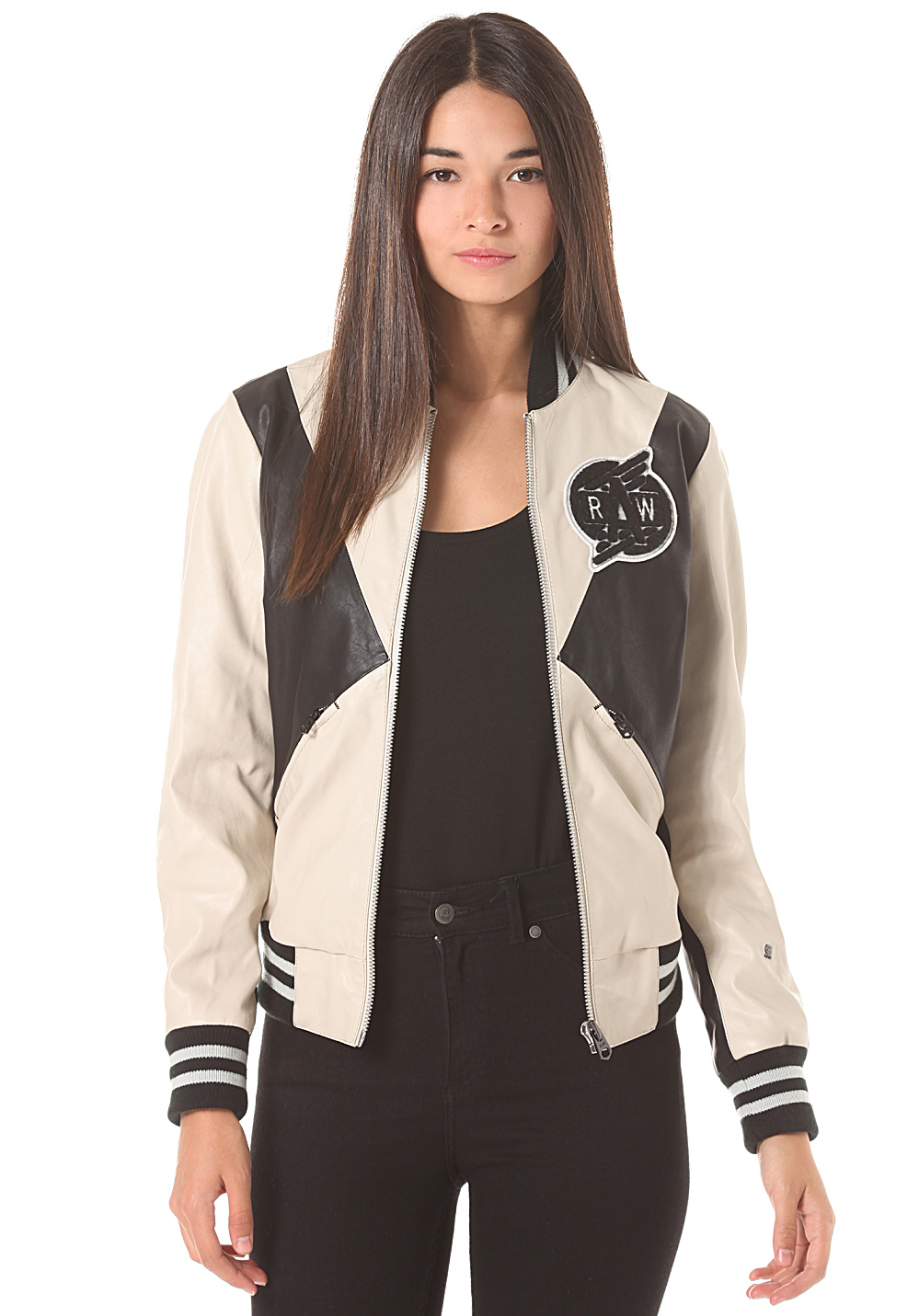 g star block contrast bomber moto pl veste pour femme blanc planet sports. Black Bedroom Furniture Sets. Home Design Ideas