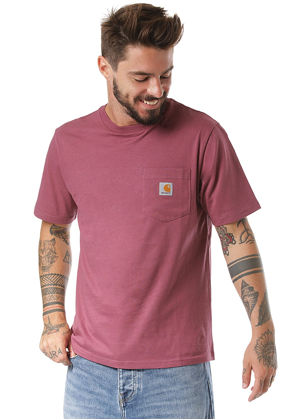 Carhartt WIP Pocket T shirt pour Homme Rose Planet Sports