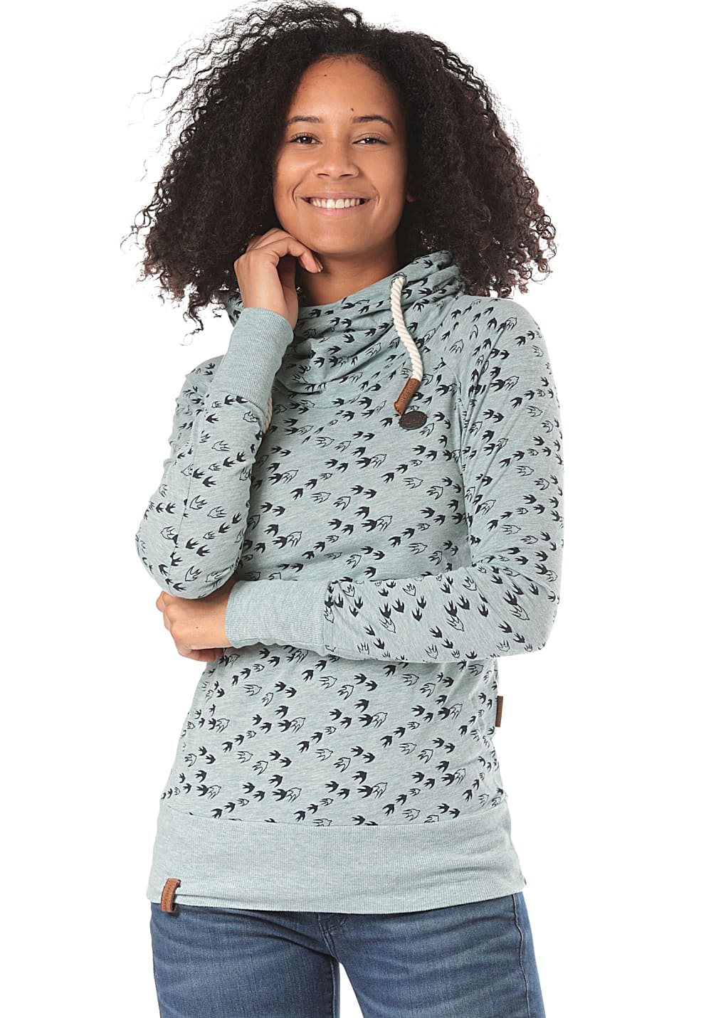 NAKETANO Mandy Will Vögel (N) Sweat à capuche pour Femme Vert
