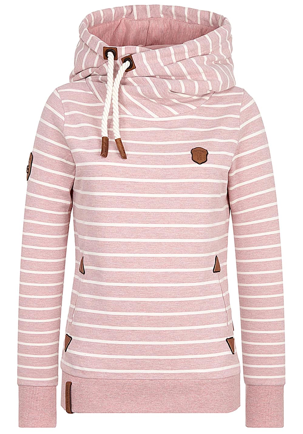 Naketano Fleissiges Bumserlein W hoodie pink white striped
