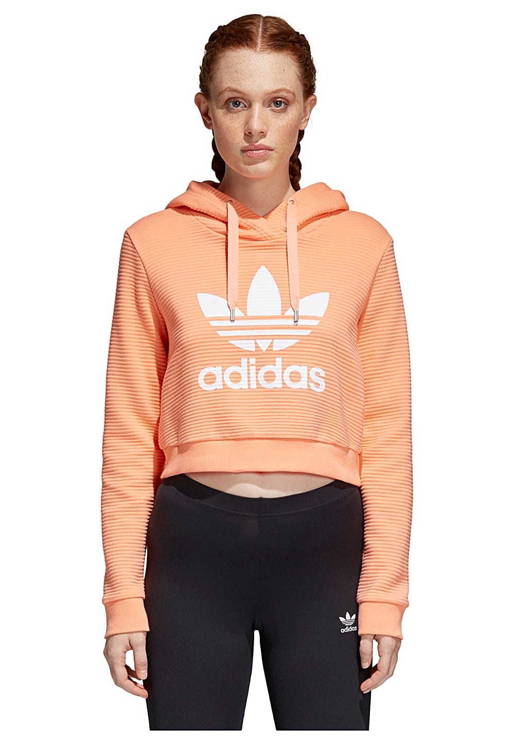 adidas damen cropped hooded sweatshirt