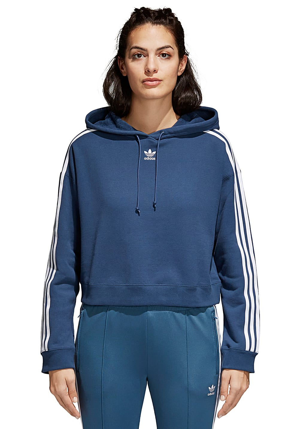 ADIDAS ORIGINALS Cropped Hooded Sweatshirt for Women Blue