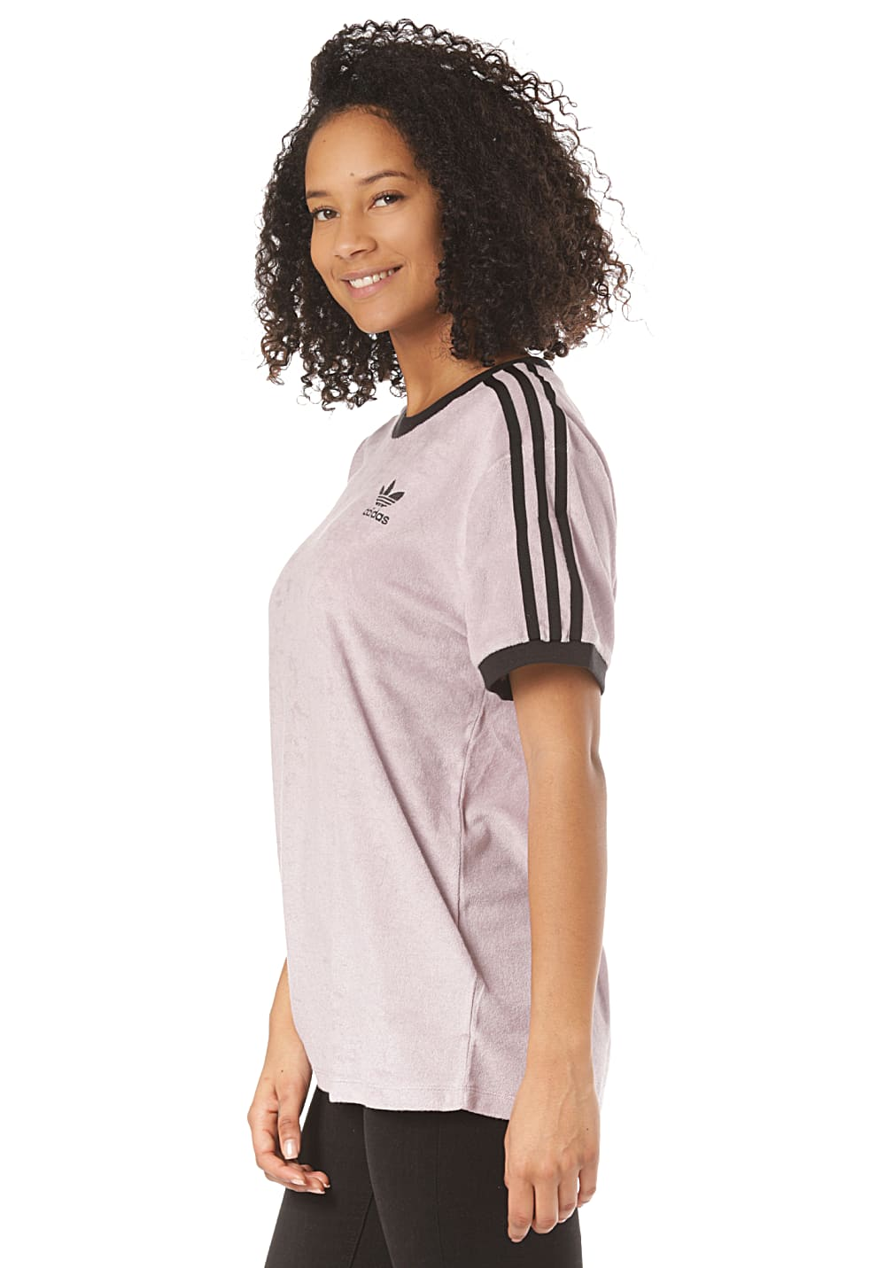 ADIDAS ORIGINALS 3 Stripes T Shirt for Women Purple